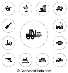 Set Of 12 Editable Construction Icons. Includes Symbols Such...