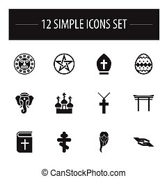 Set Of 12 Editable Dyne Icons. Includes Symbols Such As Christian Cross, Religious Sewn, Shinto And More. Can Be Used For Web, Mobile, UI And Infographic Design.