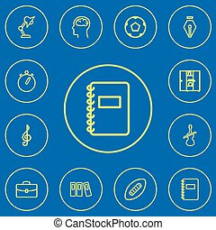 Set Of 12 Editable Education Outline Icons. Includes Symbols Such As Case, Treble Clef, Ball And More. Can Be Used For Web, Mobile, UI And Infographic Design.