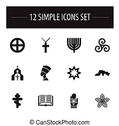 Set Of 12 Editable Faith Icons. Includes Symbols Such As Indian Flower, Christian Cross, Cleopatra And More. Can Be Used For Web, Mobile, UI And Infographic Design.