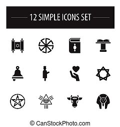 Set Of 12 Editable Faith Icons. Includes Symbols Such As Religious Book, Pentagram, Hexagram And More. Can Be Used For Web, Mobile, UI And Infographic Design.