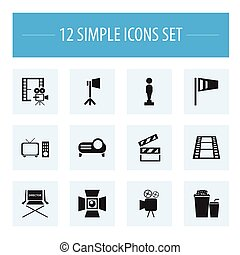 Set Of 12 Editable Filming Icons. Includes Symbols Such As Studio Light, Shooting Seat, Clapper And More. Can Be Used For Web, Mobile, UI And Infographic Design.