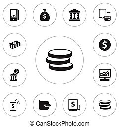 Set Of 12 Editable Finance Icons. Includes Symbols Such As Transaction, Academy, Purse And More. Can Be Used For Web, Mobile, UI And Infographic Design.