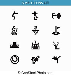 Set Of 12 Editable Fitness Icons. Includes Symbols Such As...