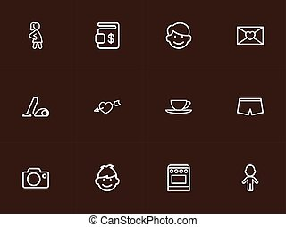 Set Of 12 Editable Folks Outline Icons. Includes Symbols Such As Stove, Girl, Photo Device And More. Can Be Used For Web, Mobile, UI And Infographic Design.
