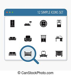 Set Of 12 Editable Interior Icons. Includes Symbols Such As...