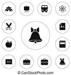 Set Of 12 Editable Knowledge Icons. Includes Symbols Such As Apple, Literature, Page And More. Can Be Used For Web, Mobile, UI And Infographic Design.