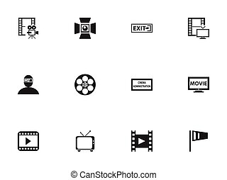 Set Of 12 Editable Movie Icons. Includes Symbols Such As Spectator, Outlet, Pennant And More. Can Be Used For Web, Mobile, UI And Infographic Design.