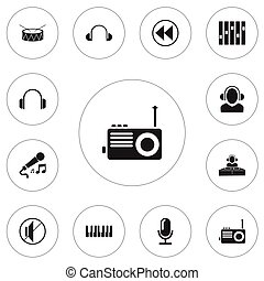 Set Of 12 Editable Mp3 Icons. Includes Symbols Such As Octave, Silent, Radio And More. Can Be Used For Web, Mobile, UI And Infographic Design.