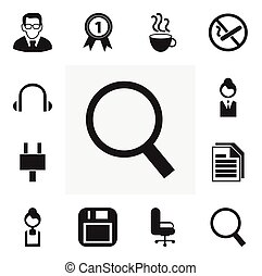 Set Of 12 Editable Office Icons. Includes Symbols Such As Earphone, Work Seat, Professor And More. Can Be Used For Web, Mobile, UI And Infographic Design.