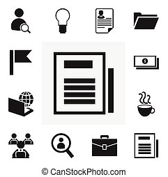Set Of 12 Editable Office Icons. Includes Symbols Such As Pennant, Dossier, Worker With Laptop And More. Can Be Used For Web, Mobile, UI And Infographic Design.