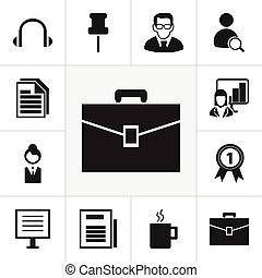 Set Of 12 Editable Office Icons. Includes Symbols Such As Portfolio, Professor, Page And More. Can Be Used For Web, Mobile, UI And Infographic Design.