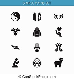 Set Of 12 Editable Religion Icons. Includes Symbols Such As Sacrifice Sheep, Candlestick, Jewish. Can Be Used For Web, Mobile, UI And Infographic Design.
