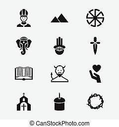 Set Of 12 Editable Religion Icons. Includes Symbols Such As Eye On Hand , Gospel , Poniard. Can Be Used For Web, Mobile, UI And Infographic Design.