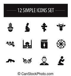 Set Of 12 Editable Religion Icons. Includes Symbols Such As Eye On Hand , Orthodox Symbol, Holy Bull. Can Be Used For Web, Mobile, UI And Infographic Design.