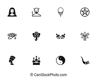 Set Of 12 Editable Religion Icons. Includes Symbols Such As Pentagram, Egypt God, Taoism And More. Can Be Used For Web, Mobile, UI And Infographic Design.