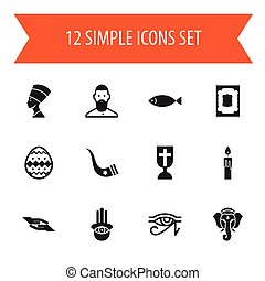 Set Of 12 Editable Religion Icons. Includes Symbols Such As Tusk, Cleopatra, Fire Wax And More. Can Be Used For Web, Mobile, UI And Infographic Design.