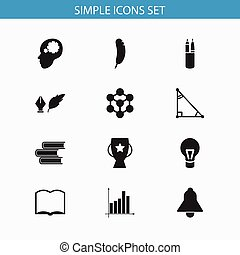 Set Of 12 Editable Science Icons. Includes Symbols Such As Molecule, Pen Case, Goblet And More. Can Be Used For Web, Mobile, UI And Infographic Design.