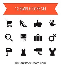 Set Of 12 Editable Shopping Icons. Includes Symbols Such As Attache Case, Fingers, Okay And More. Can Be Used For Web, Mobile, UI And Infographic Design.