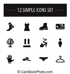 Set Of 12 Editable Shopping Icons. Includes Symbols Such As...