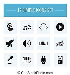 Set Of 12 Editable Song Icons. Includes Symbols Such As Begin, Phonograph, Mp3 Player And More. Can Be Used For Web, Mobile, UI And Infographic Design.