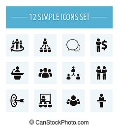 Set Of 12 Editable Team Icons. Includes Symbols Such As Speaker, Team, Goal And More. Can Be Used For Web, Mobile, UI And Infographic Design.