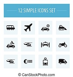 Set Of 12 Editable Transport Icons. Includes Symbols Such As Delivery, Chopper, Repairing And More. Can Be Used For Web, Mobile, UI And Infographic Design.