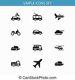 Set Of 12 Editable Transport Icons. Includes Symbols Such As Vessel, Helicopter, Aircraft And More. Can Be Used For Web, Mobile, UI And Infographic Design.