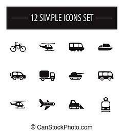 Set Of 12 Editable Transportation Icons. Includes Symbols ...