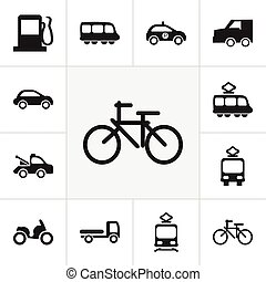 Set Of 12 Editable Transportation Icons. Includes Symbols Such As Motorbus, Tramcar, Auto And More. Can Be Used For Web, Mobile, UI And Infographic Design.