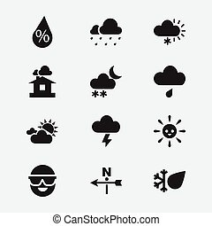 Set Of 12 Editable Weather Icons. Includes Symbols Such As Laughing Solar, Interest, Frosty And More. Can Be Used For Web, Mobile, UI And Infographic Design.