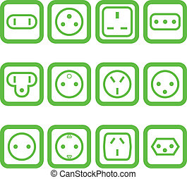 Set of 12 electricity outlets - Set of 12 types of ...