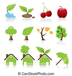 Set of 12 environmental green icons for your design idea
