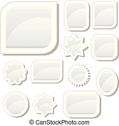 Set of 12 flat white glass buttons