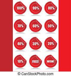 Set of 12 Glossy sales tags stickers with discount and reflection