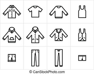 Set of 12 men and unisex clothing icons in black and white. Easy to edit, resize and colorize.