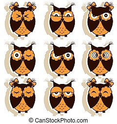 Set of 12 owls