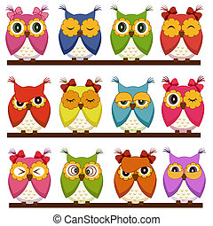 Set of 12 owls with different emotions