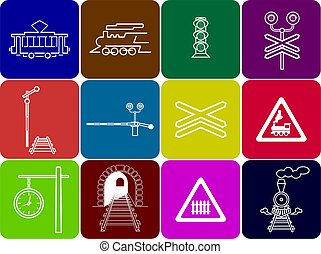 set of 12 railway icons
