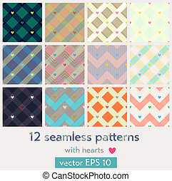 Set of 12 seamless patterns with hearts