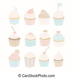 Set of 12 vector hand drawn cupcakes