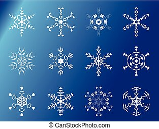 set of 12 vector snowflakes