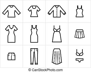 Set of 12 women clothing icons in black and white. Easy to...