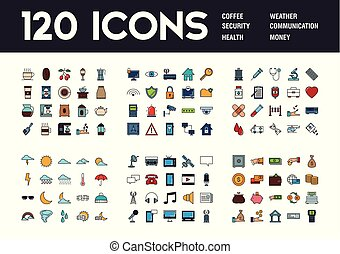 Set of 120 icons with different themes