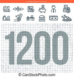 Set of 1200 line icons