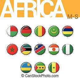 Set of 13 bottle cap flags of Africa (M-S). Set 3 of 4. Vector Illustration.