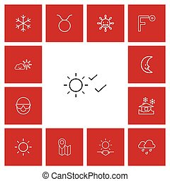 Set Of 13 Editable Air Outline Icons. Includes Symbols Such...