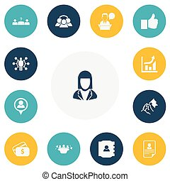 Set Of 13 Editable Business Icons. Includes Symbols Such As Candidate, Meeting, Like. Can Be Used For Web, Mobile, UI And Infographic Design.