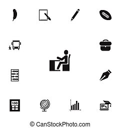 Set Of 13 Editable Education Icons. Includes Symbols Such As Calculator, Feather, Distance Learning And More. Can Be Used For Web, Mobile, UI And Infographic Design.