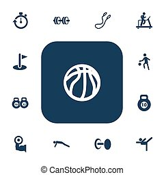 Set Of 13 Editable Fitness Icons. Includes Symbols Such As Barbell, Jogging, Stopwatch And More. Can Be Used For Web, Mobile, UI And Infographic Design.